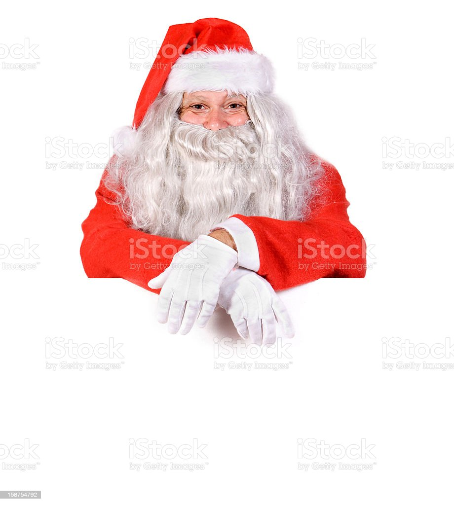Santa Claus with a blank sign royalty-free stock photo