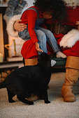 Santa Claus with child and cat