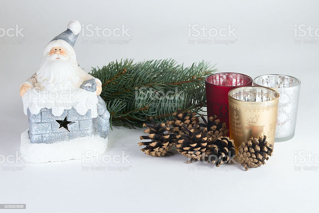 Santa Claus with chritsmas tree and candles stock photo
