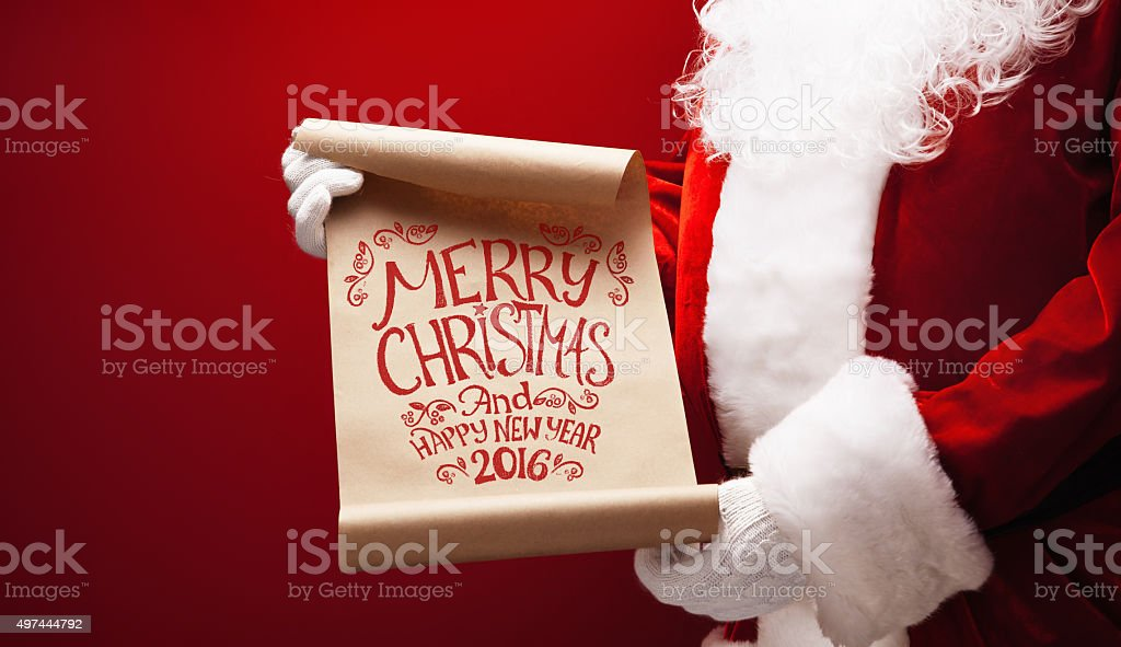 Santa Claus with congratulation stock photo
