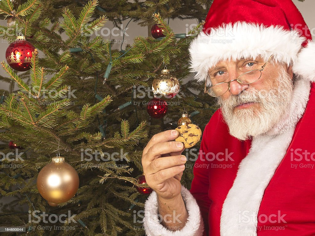 Santa Claus with cookie stock photo