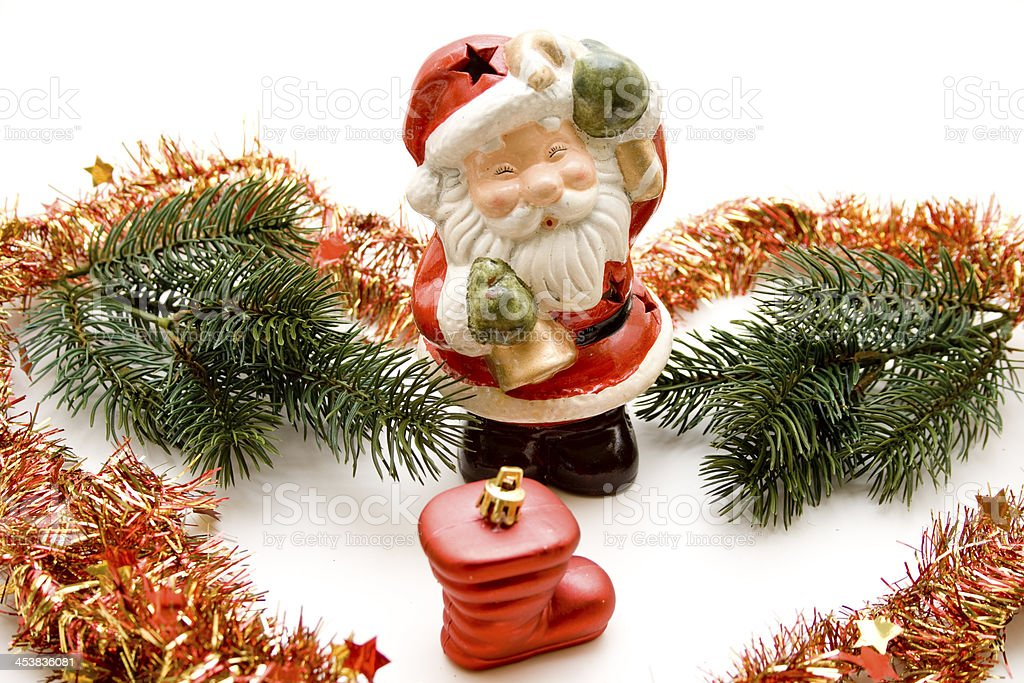 Santa Claus with fir branches stock photo
