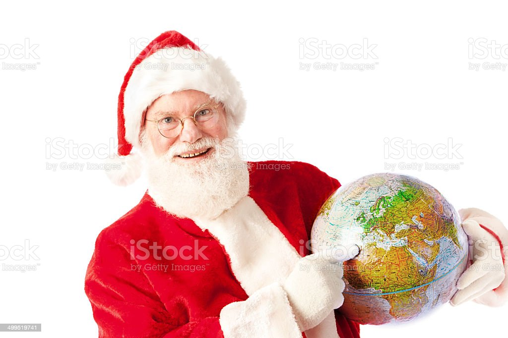 Santa Claus with Global Travel Vacation Plan on White Background royalty-free stock photo