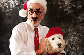Santa Claus with Groucho Glasses and His Best Friend