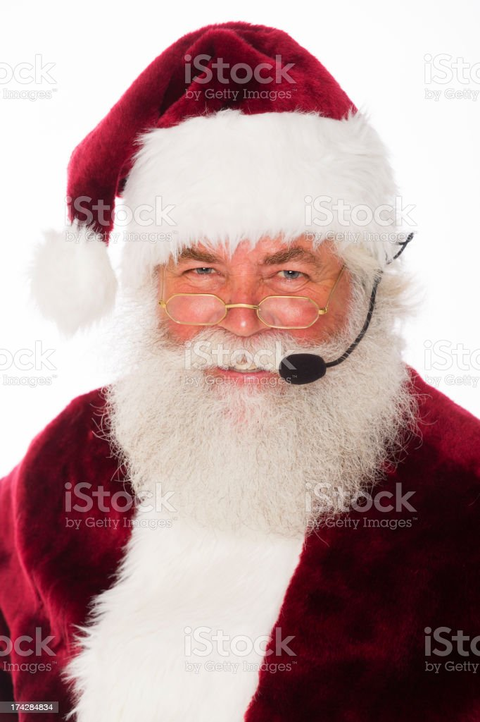 Santa Claus with Headset royalty-free stock photo