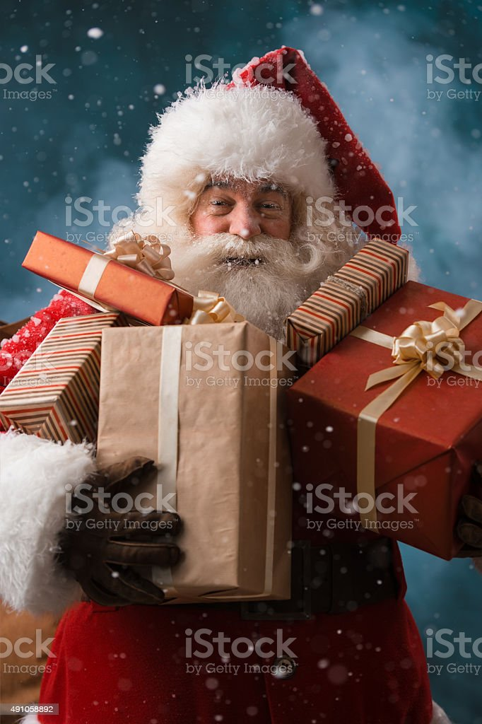 Santa Claus with his sack of presents stock photo