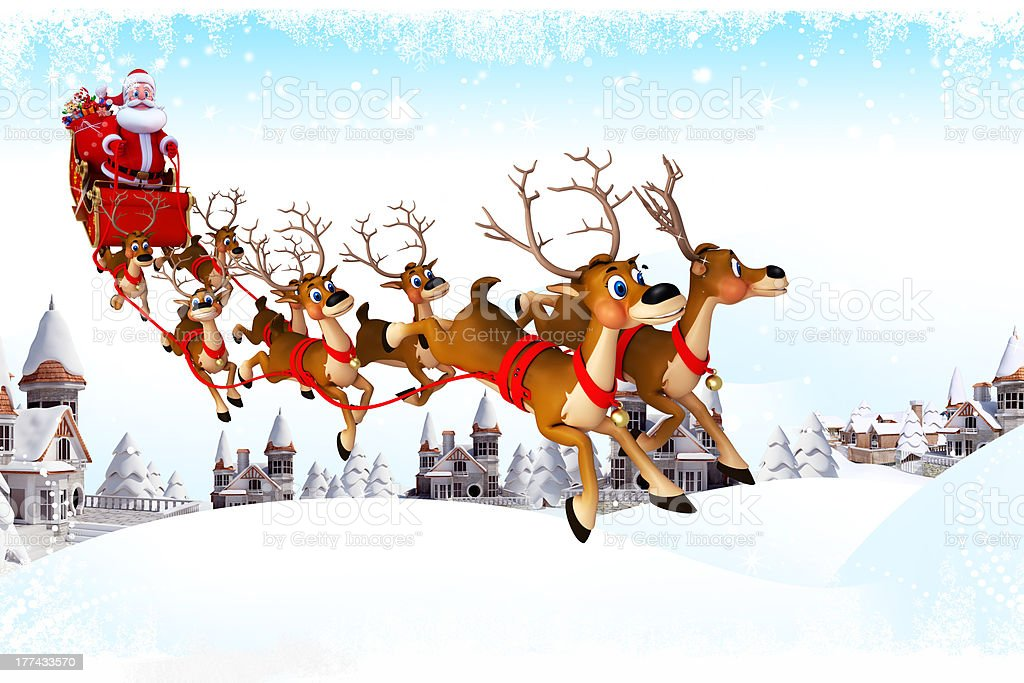 santa claus with his sleigh jumping from sky to earth stock photo