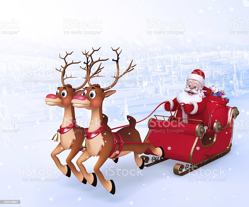 Santa claus with his sleigh royalty-free stock photo