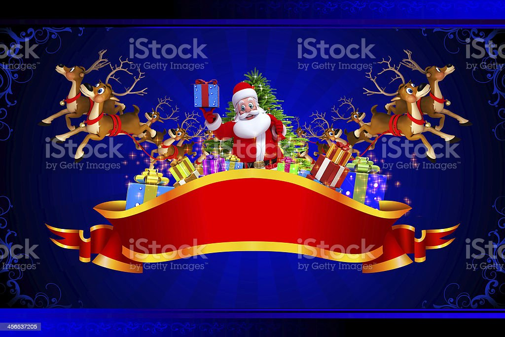 santa claus with many gifts and reindeers royalty-free stock photo