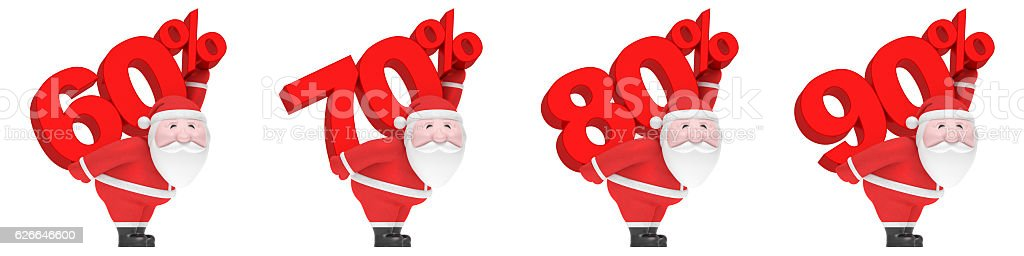 Santa Claus with number and percent (set). Christmas sale season stock photo