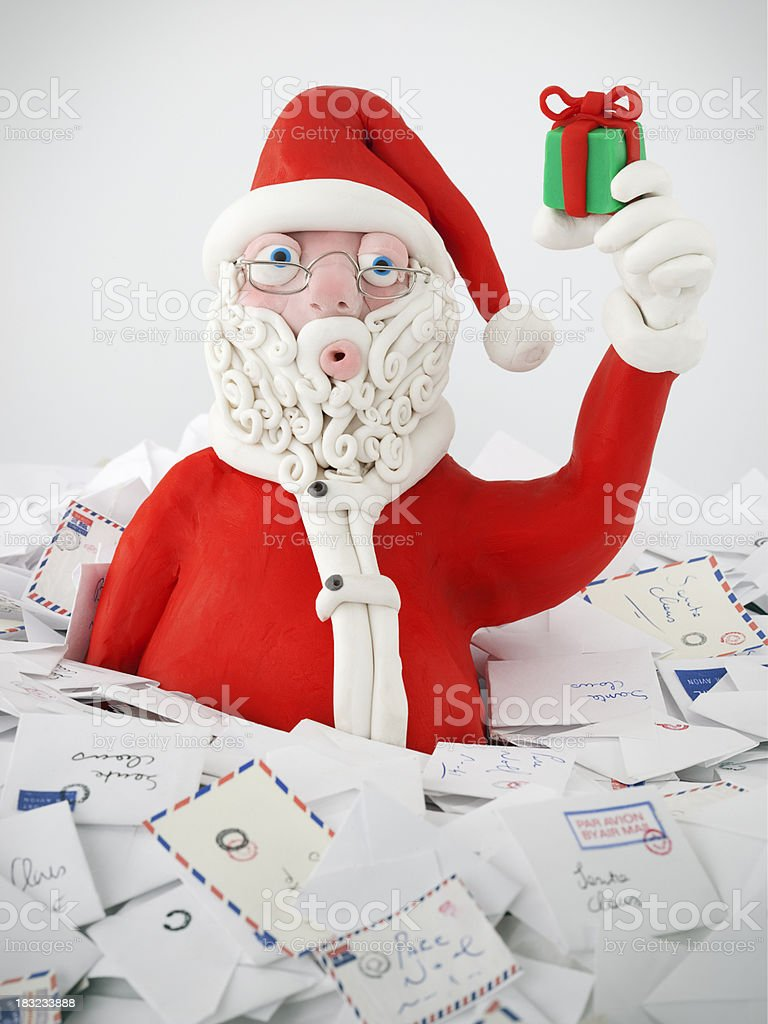 Santa Claus with present stock photo