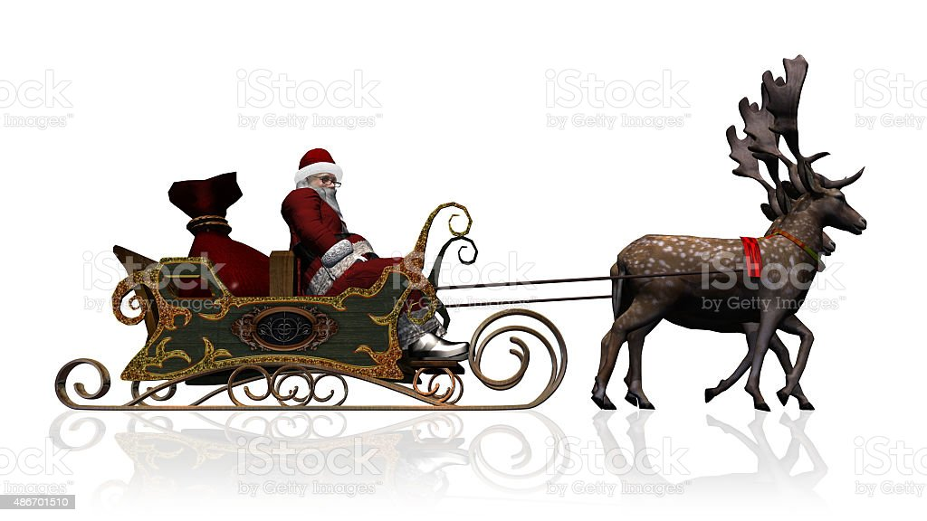 Santa Claus with sleigh and reindeer separated on white background stock photo