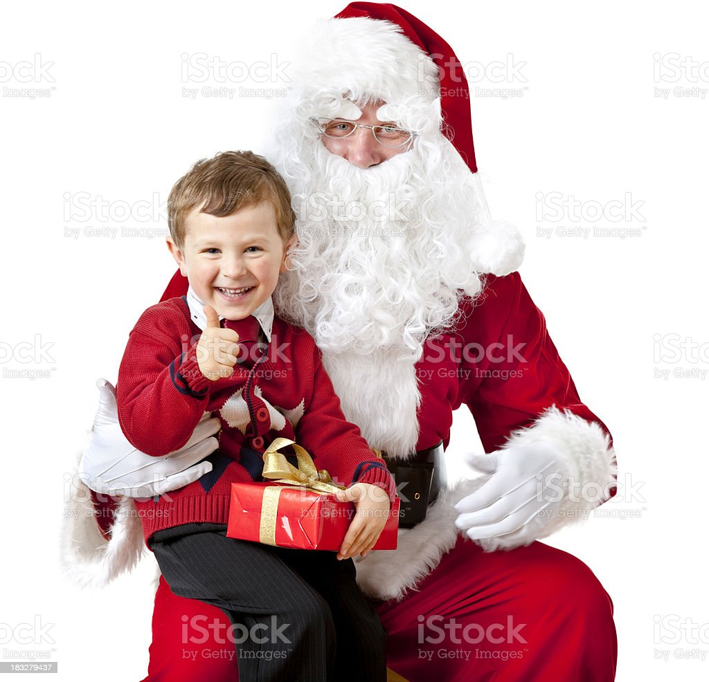 santa claus with small boy royalty-free stock photo