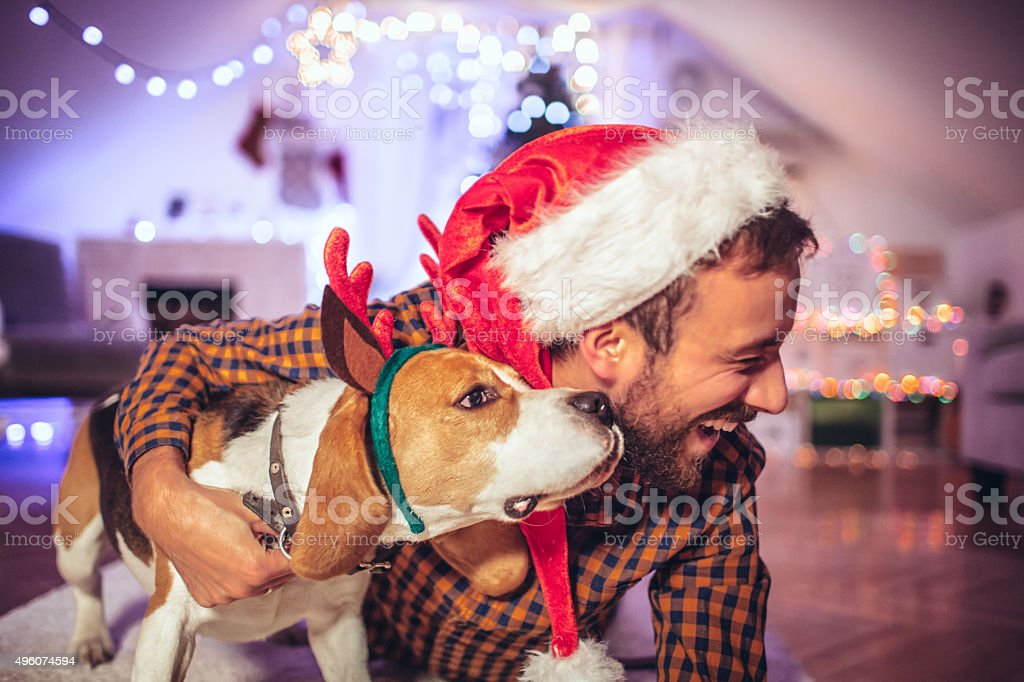 Santa Clause and his little helper stock photo