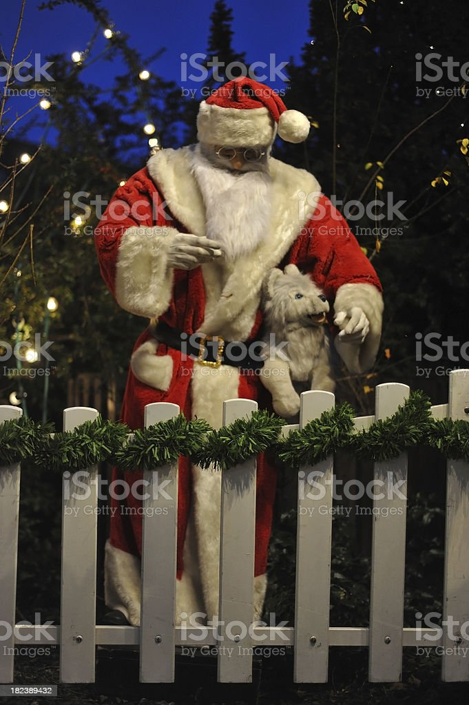 santa clause behind fence royalty-free stock photo
