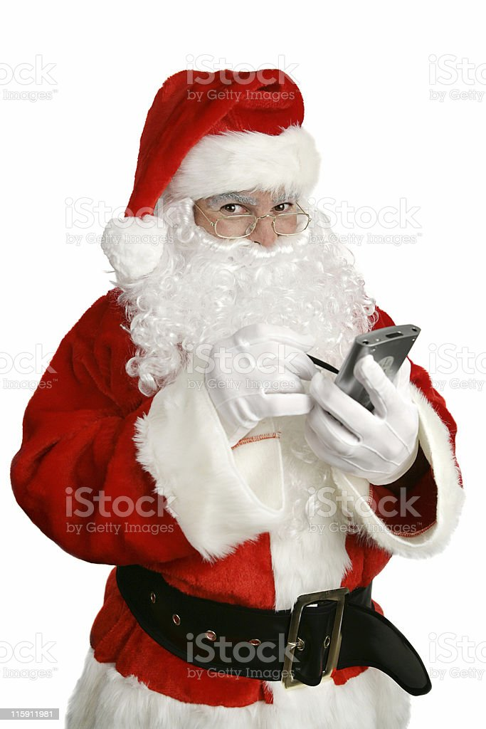 Santa Clause With Personal Computer royalty-free stock photo