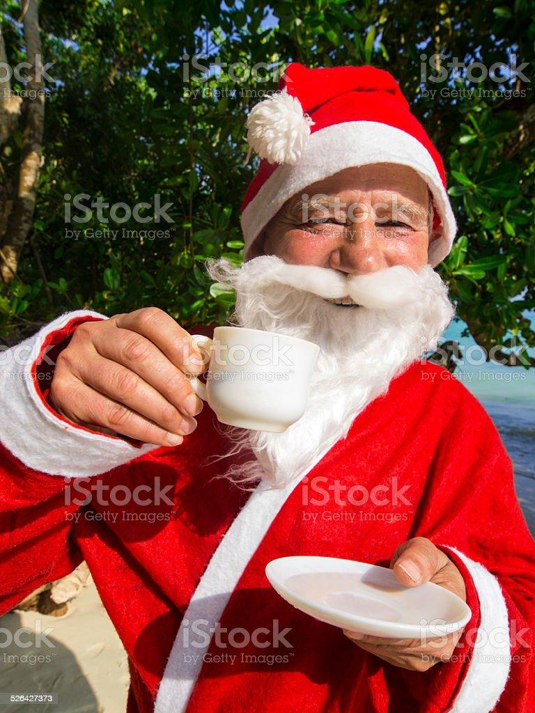 Santa Cloaus  having Coffee stock photo