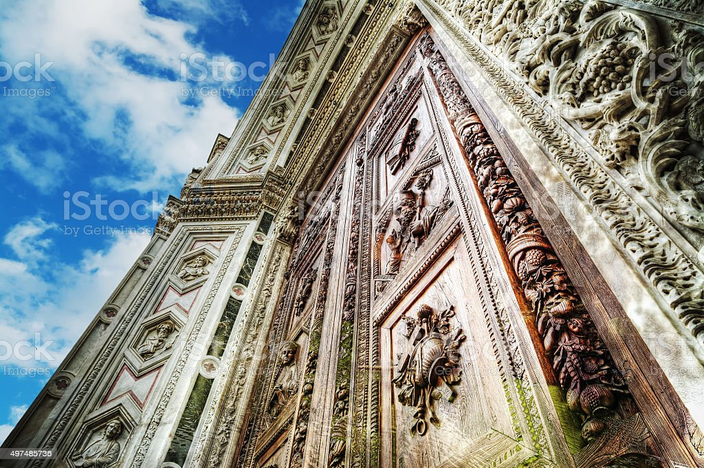 Santa Croce cathedral under a blue sky with clouds stock photo