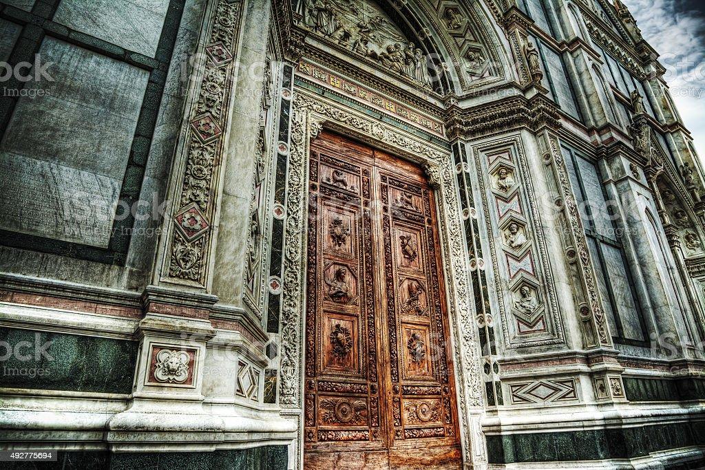 Santa Croce main door in Florence stock photo