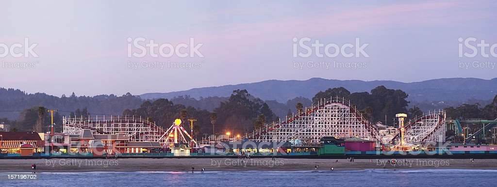 Santa Cruz boardwalk: roller coaster after sunset stock photo