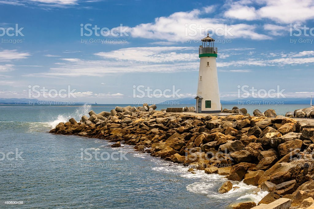Santa Cruz Breakwater Lighthouse - Walton Lighthouse  in Santa Cruz stock photo