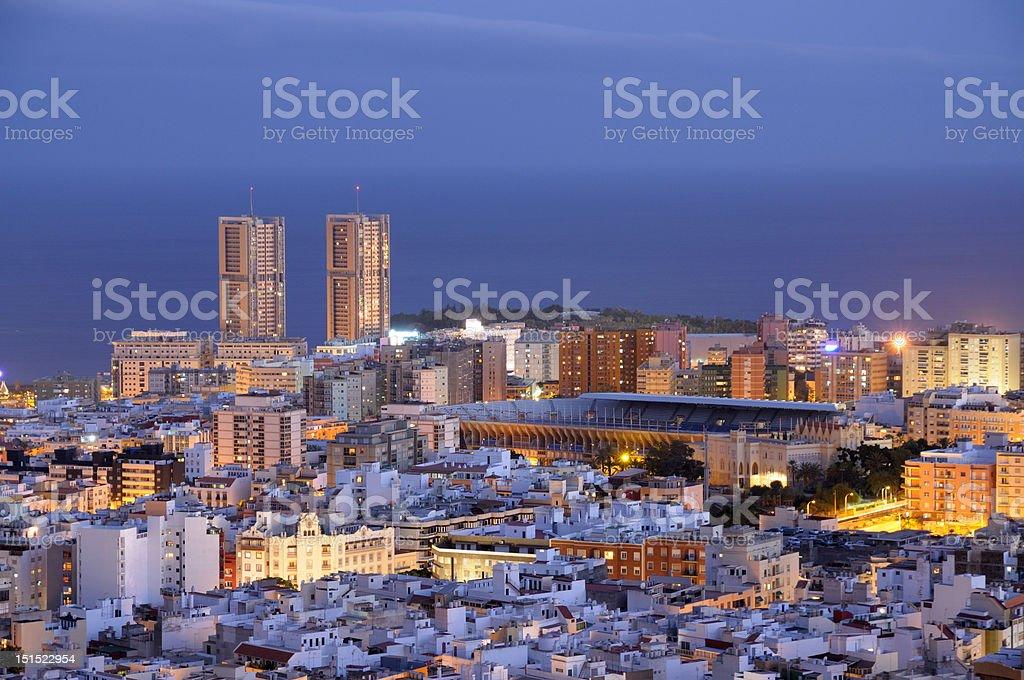 Santa Cruz de Tenerife at dusk stock photo