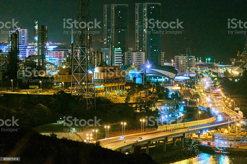 Santa cruz de Tenerife industrial port stock photo