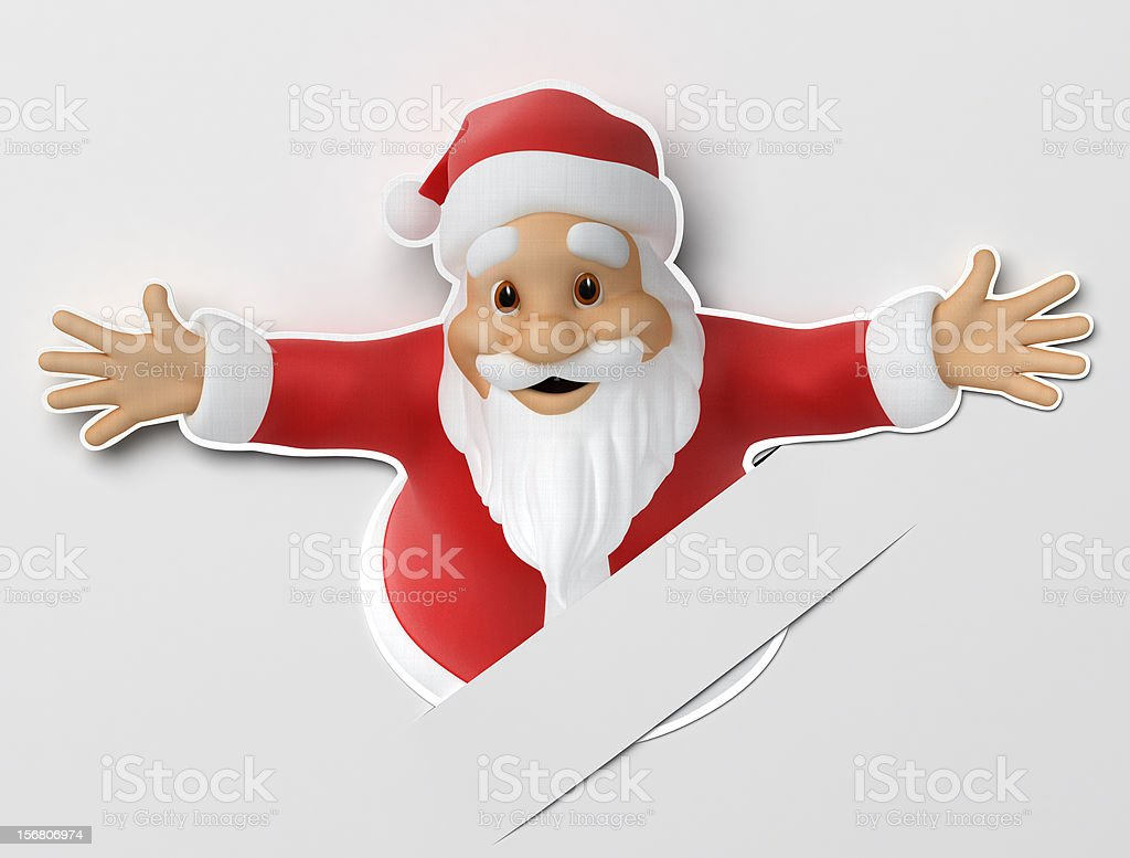 Santa cut out of paper stock photo