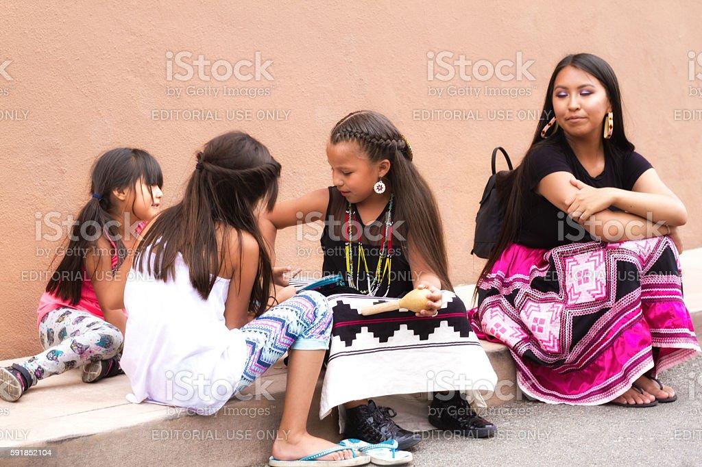 Santa Fe 2016 Indian Market: Native American Family stock photo