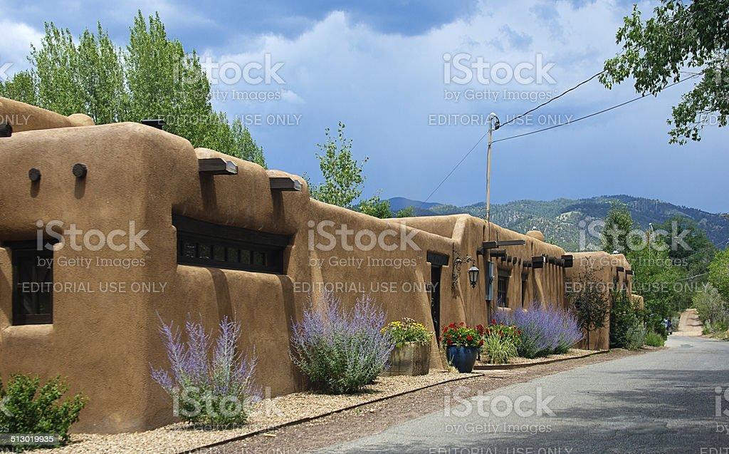 Santa Fe Adobe Houses on Upper Canyon Road stock photo