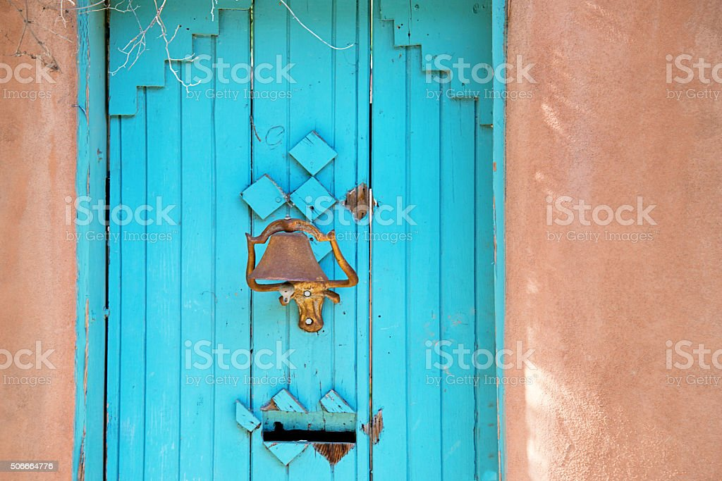 Santa Fe Blue Gate in New Mexico stock photo