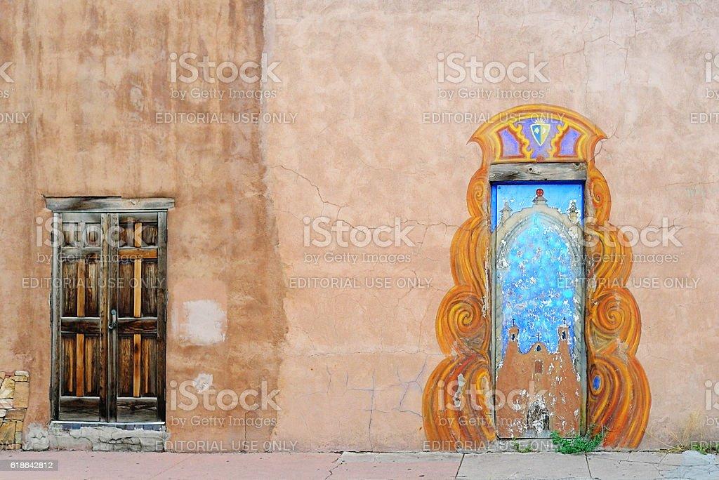 Santa Fe Elaborate Doors on Old Adobe Wall stock photo