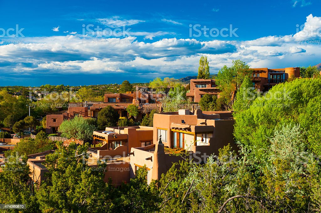 Santa Fe hillside houses stock photo