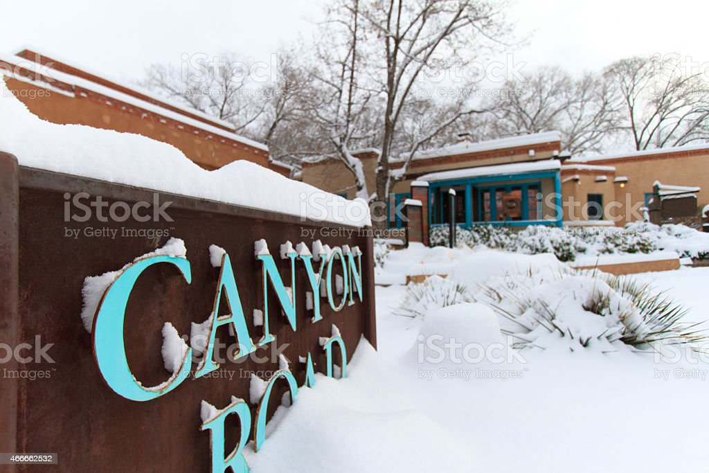 Santa Fe in Snow: Canyon Road Sign stock photo