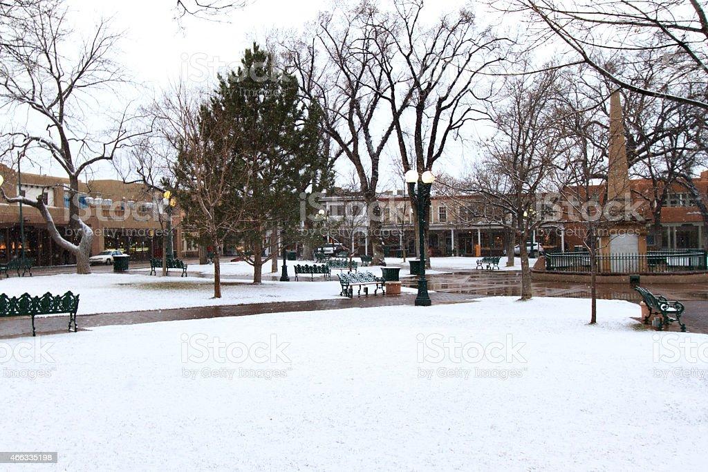 Santa Fe in Snow: The Santa Fe Plaza stock photo