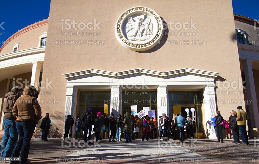 Santa Fe, NM: Anti-Trump Protesters at Electoral College Meeting stock photo