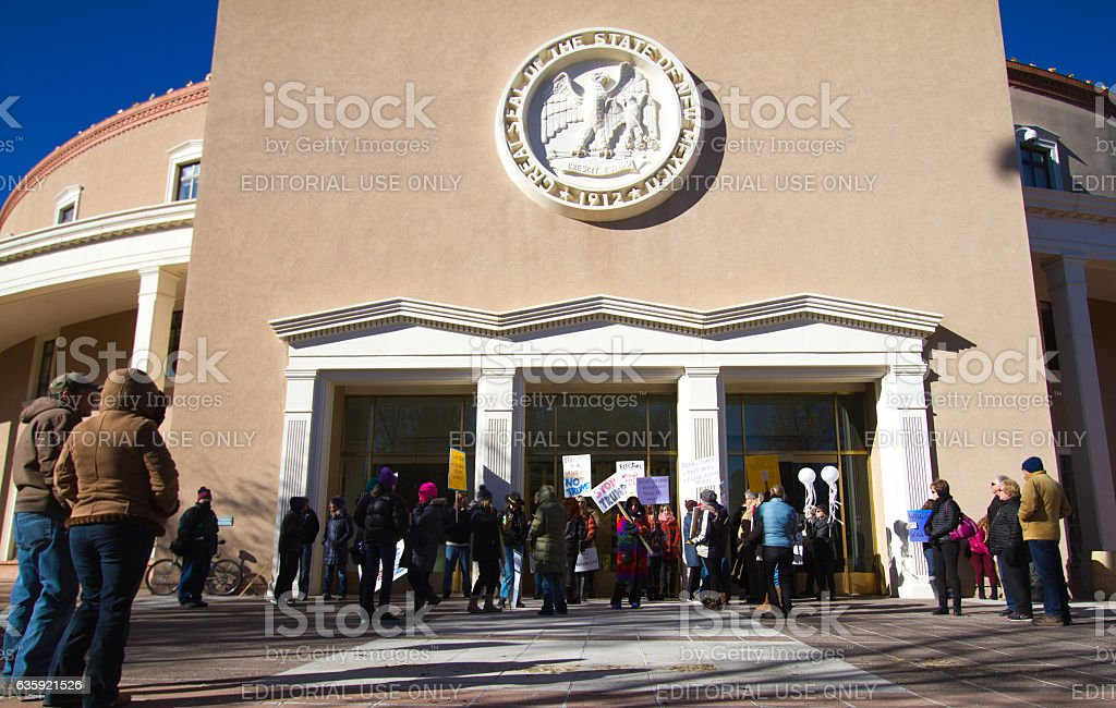 Santa Fe, NM: Anti-Trump Protesters at Electoral College Meeting stock photo