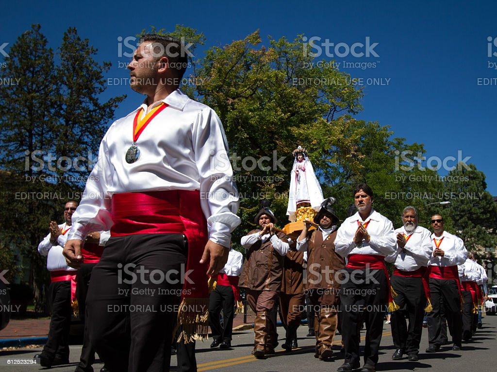 Santa Fe NM Fiesta: Parade with La Conquistadora Statue stock photo