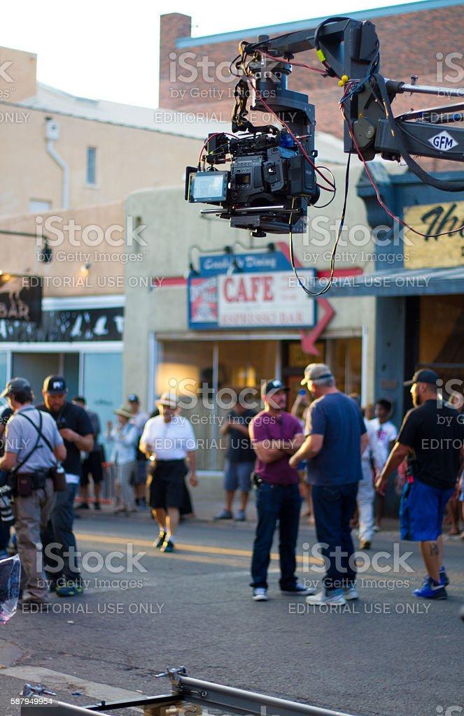 Santa Fe, NM: Filming 'Granite Mountain' in Downtown Santa Fe stock photo