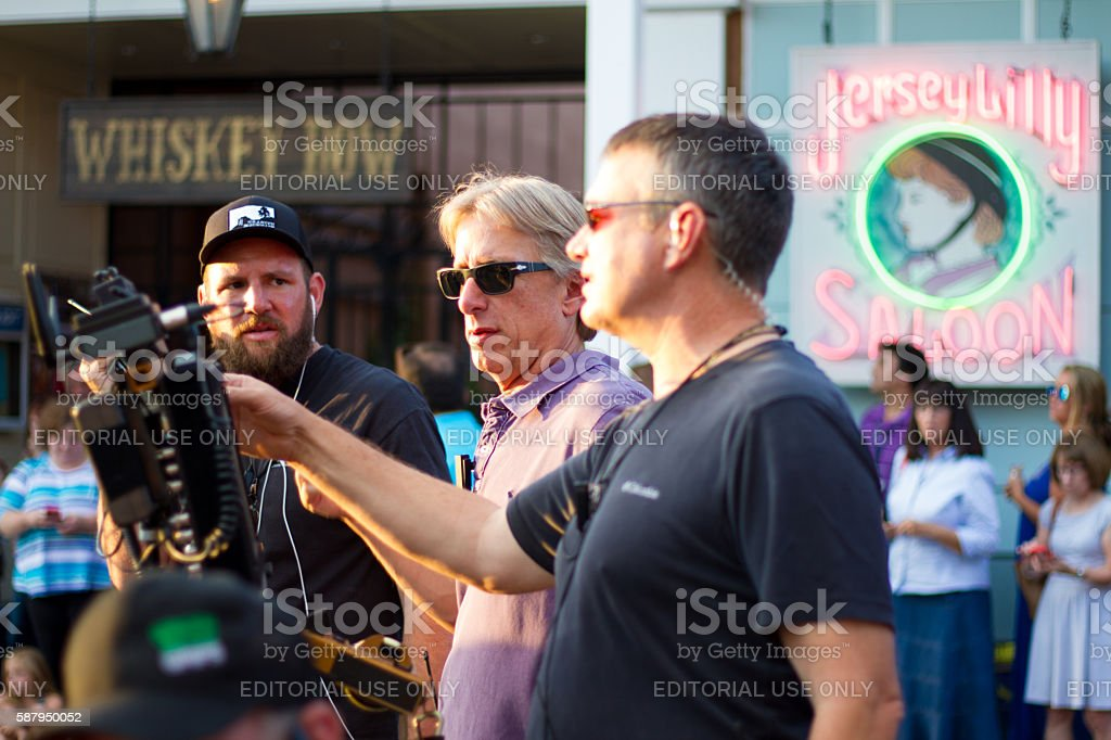 Santa Fe, NM: Filming 'Granite Mountain' in Downtown Santa Fe stock photo