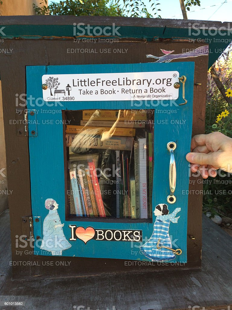 Santa Fe, NM: Little Free Library Box stock photo