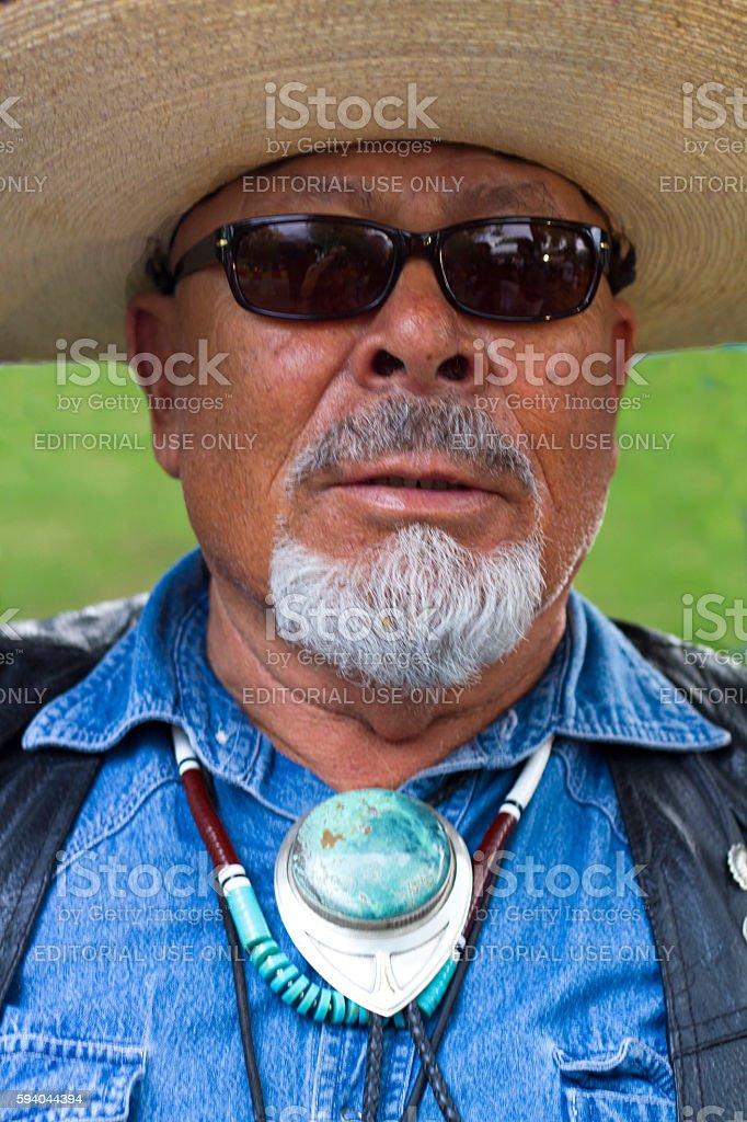 Santa Fe, NM: Man in Sombrero and Turquoise Bolo Tie stock photo