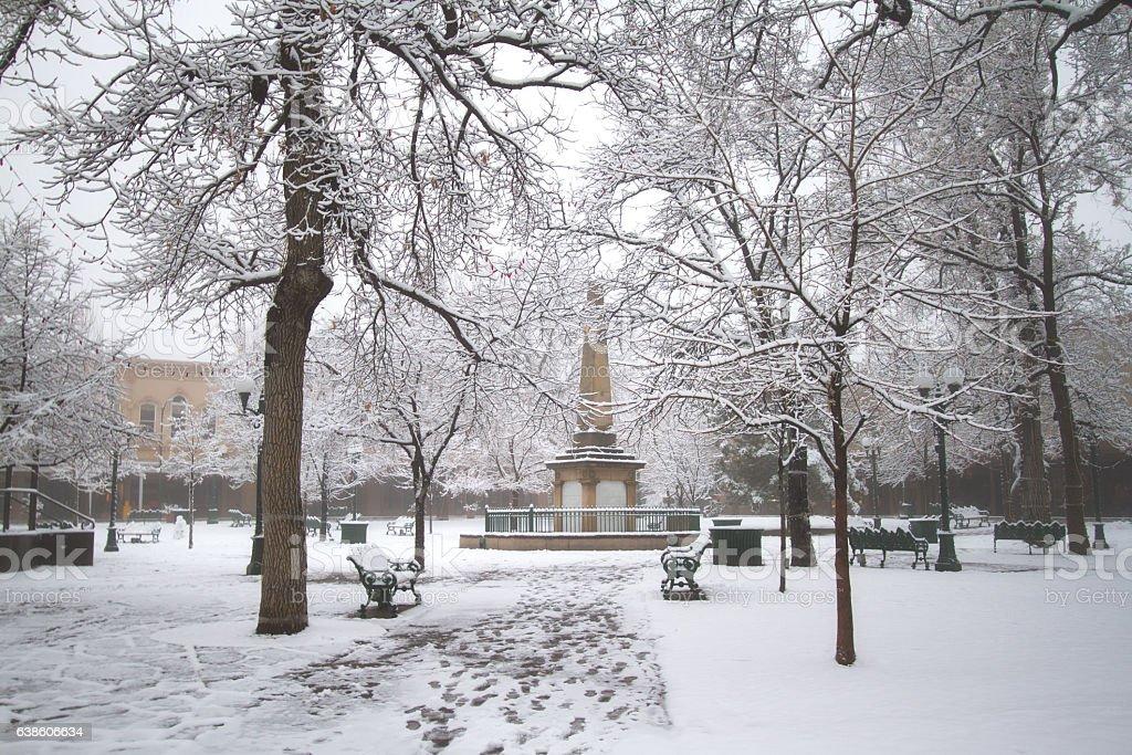 Santa Fe, NM: Santa Fe Plaza in Fog and Snow stock photo