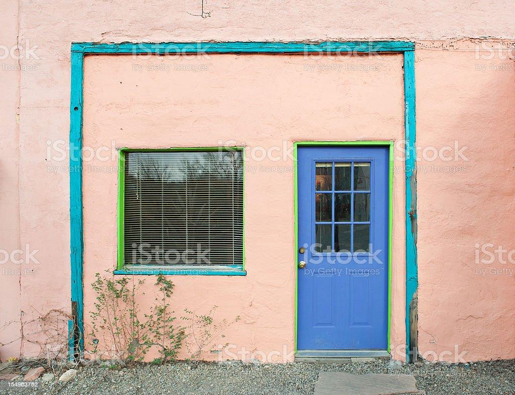 Santa Fe Old Adobe House with Stucco Wall royalty-free stock photo