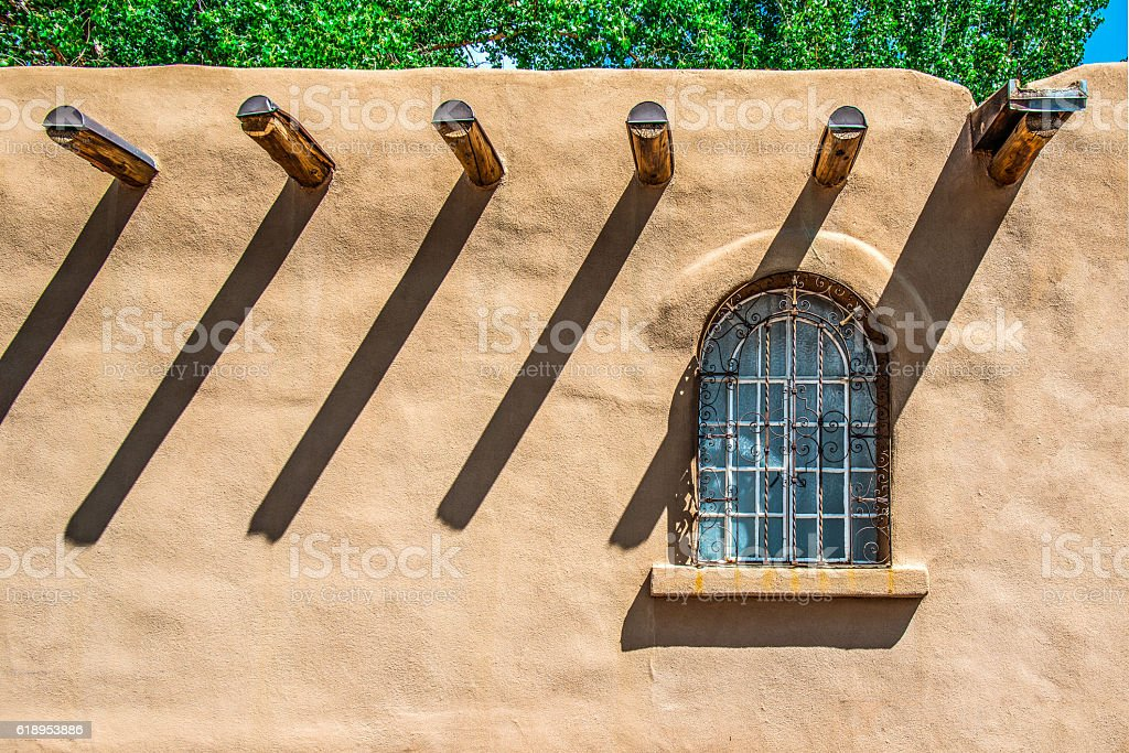Santa Fe Old Window on Stucco Wall stock photo