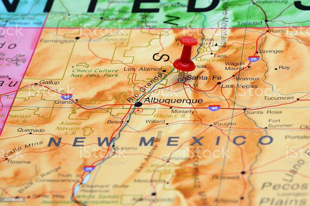 Santa Fe pinned on a map of USA stock photo