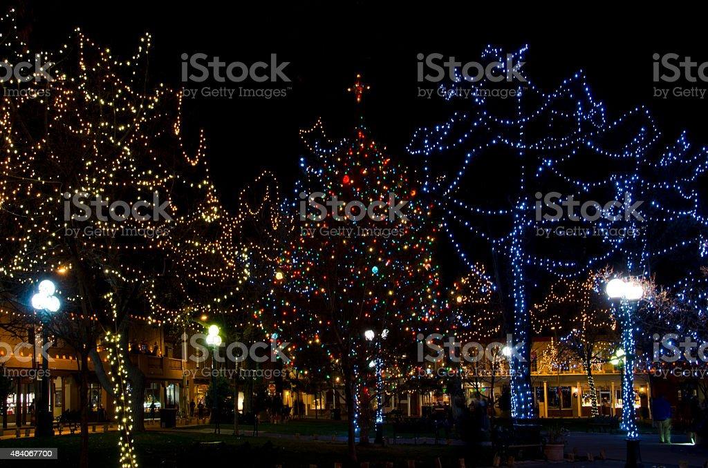 Santa Fe Plaza Christmas Trees stock photo