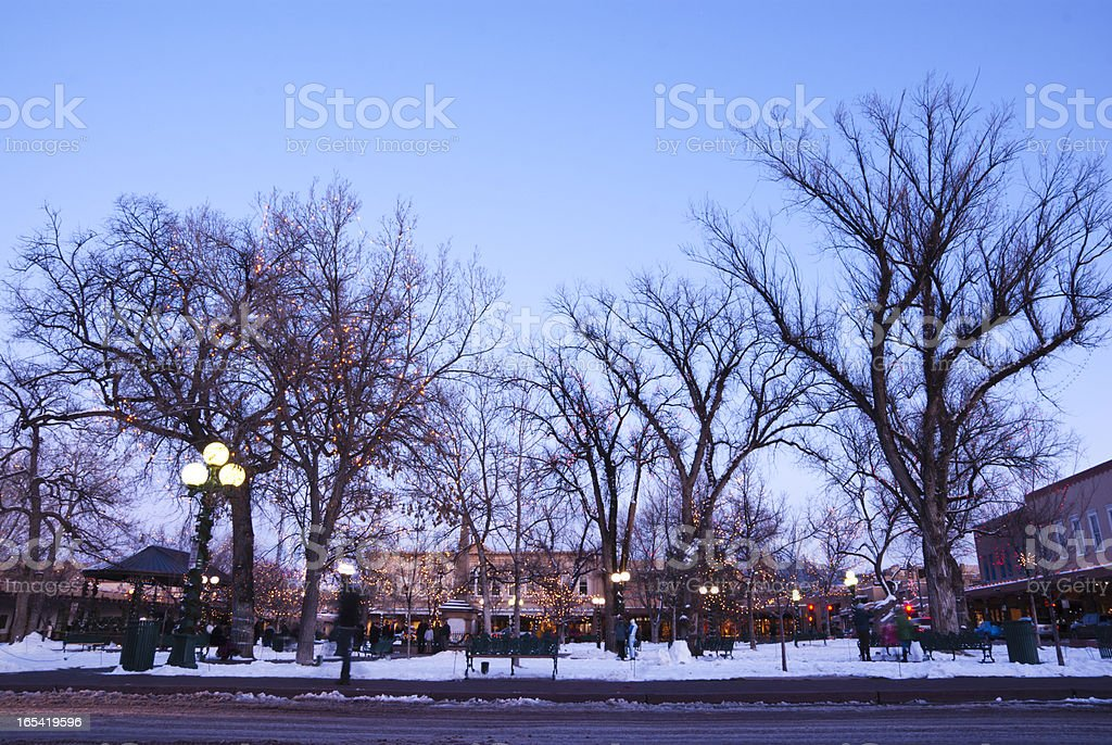 Santa Fe Plaza in winter stock photo