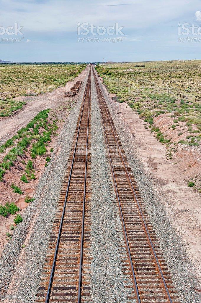 Santa Fe Railroad in Arizona from Above stock photo