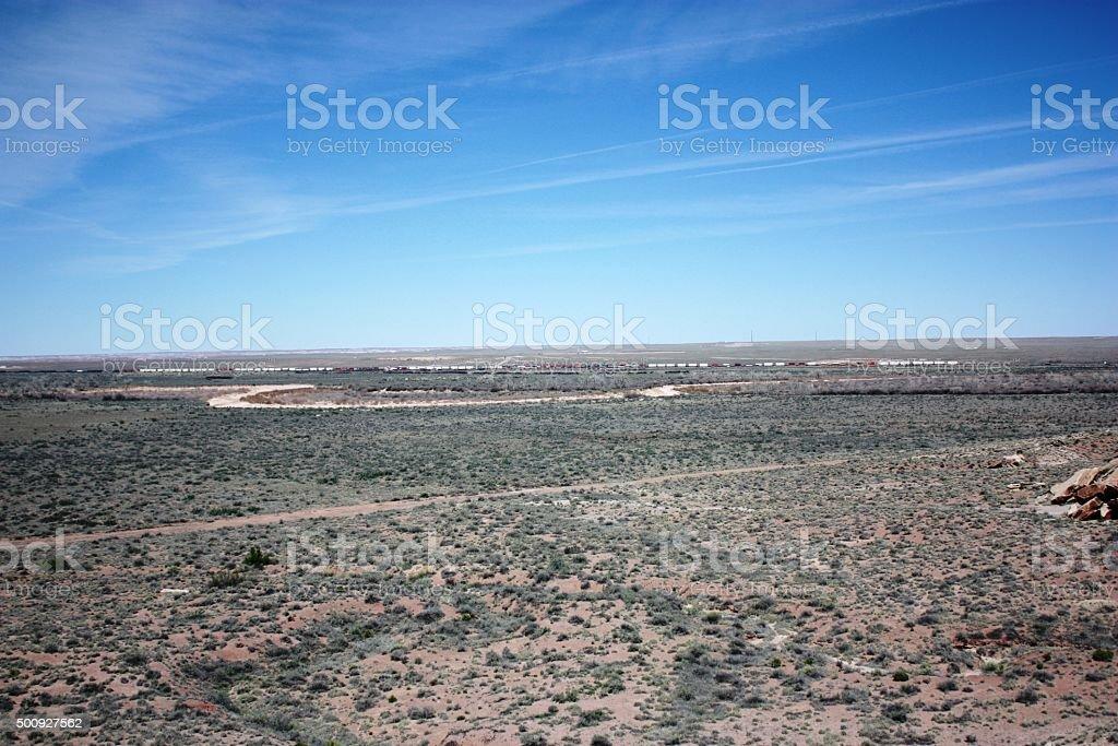 Santa Fe railroad in Painted Desert Petrified Forest Nationalpark, Arizona stock photo